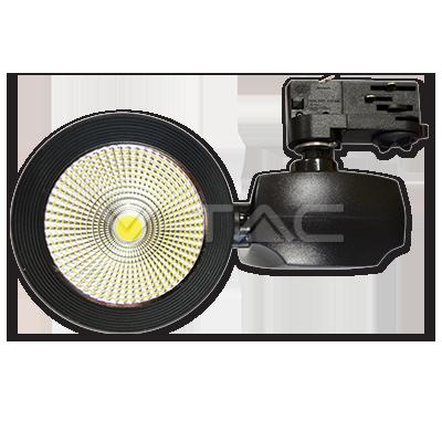 40W Euro Proiettore a pista LED COB Bordo Nero Bianco Freddo