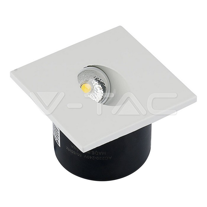 3W Spot LED Luce scale Quadrato Corpo Bianco Bianco Caldo