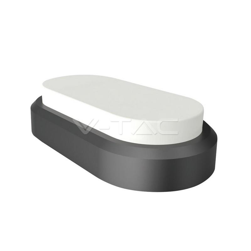 8W Plafoniera LED Rettangolare Corpo Nero Bianco caldo IP54