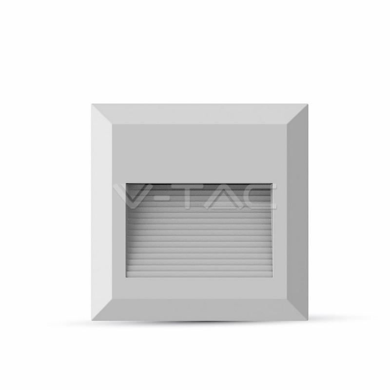 2W Faretto incasso LED Luce scale Corpo Bianco, Quadrato, Bianco Naturale