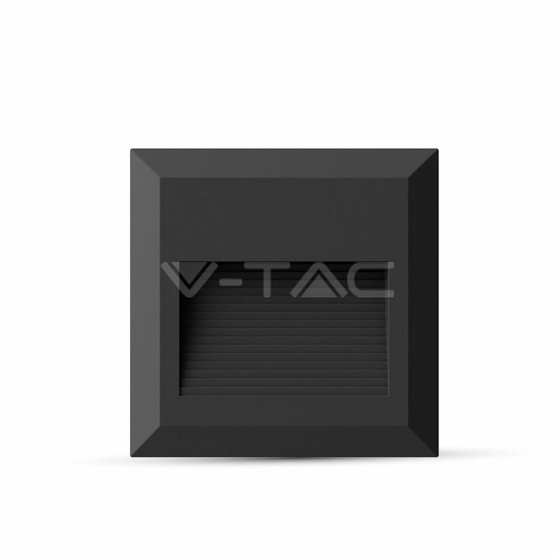 2W Faretto incasso LED Luce scale Corpo Nero, Quadrato, Bianco Naturale