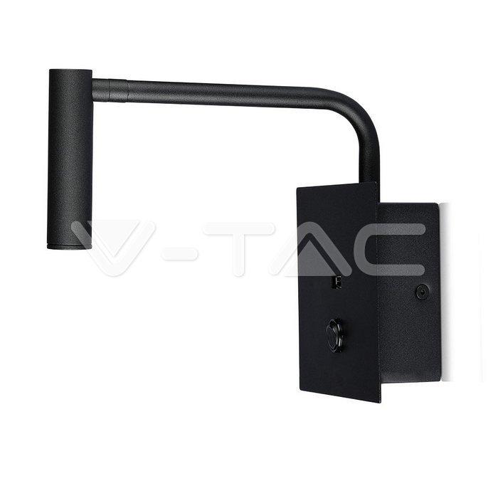 3W LED Lampada da comodino Switch & USB Port Nera 3000K