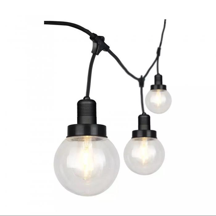 LED String Ligh 3M With 6 Bulbs Matt Black IP65