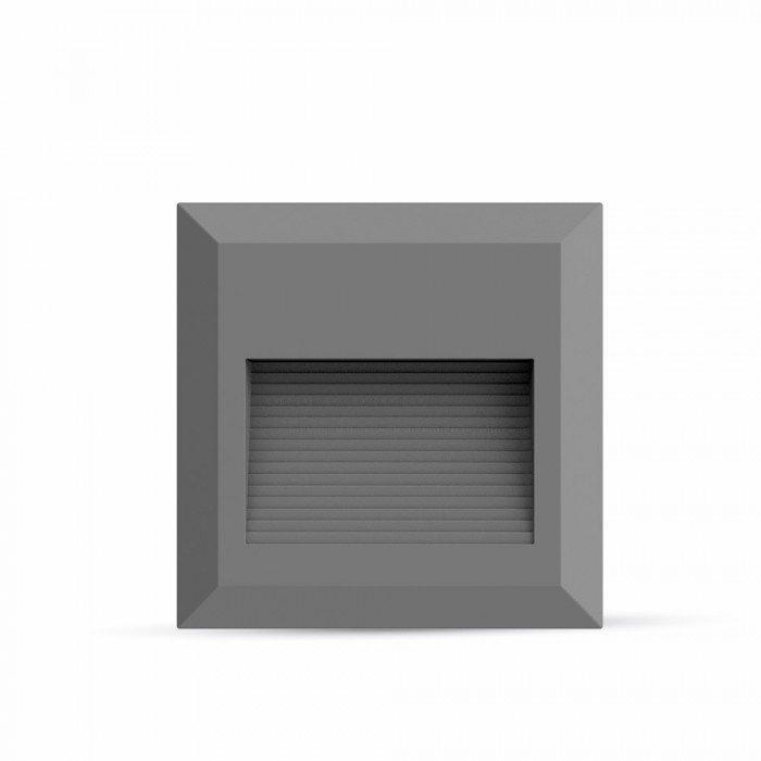 2W Faretto incasso LED Luce scale Corpo Grigio, Quadrato, Bianco Naturale