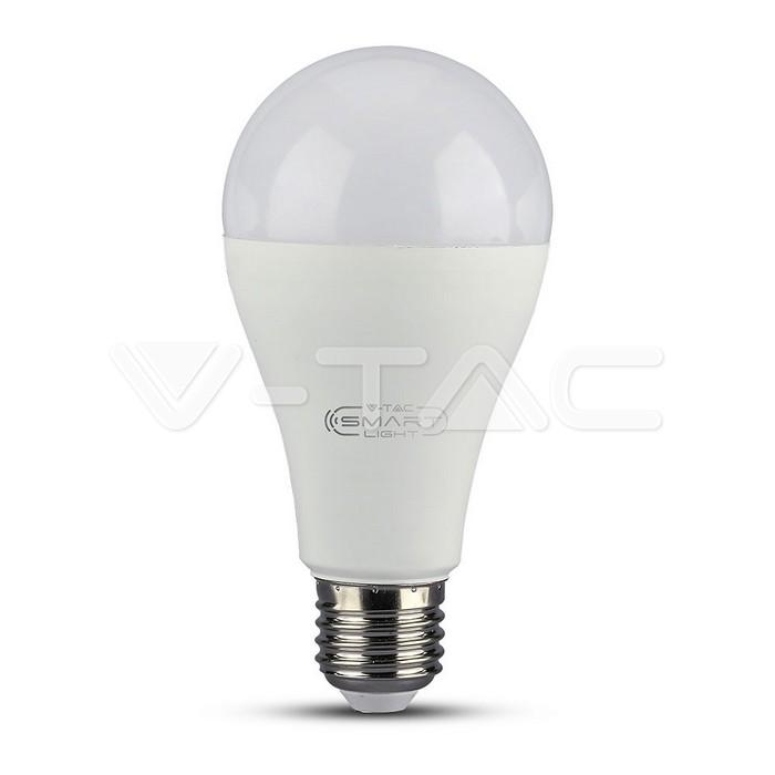 LED Lampadina 15W E27 A60 SMART WIFI RGB, Corpo Bianco, Luce Bianco Caldo