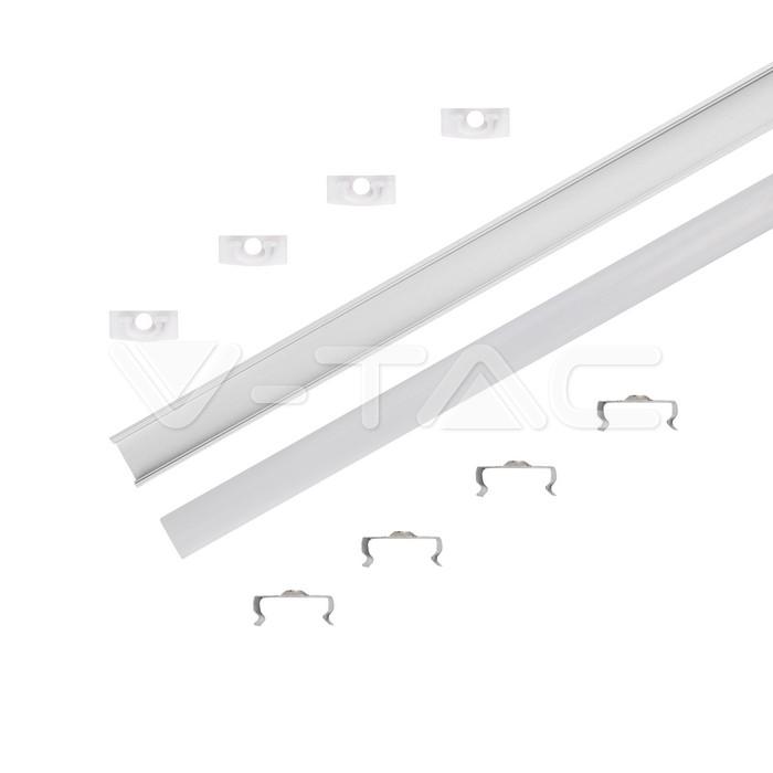 Kit di montaggio per strisce LED in alluminio con diffusore Opaco 2000 x 17,4 x 7 mm img 1
