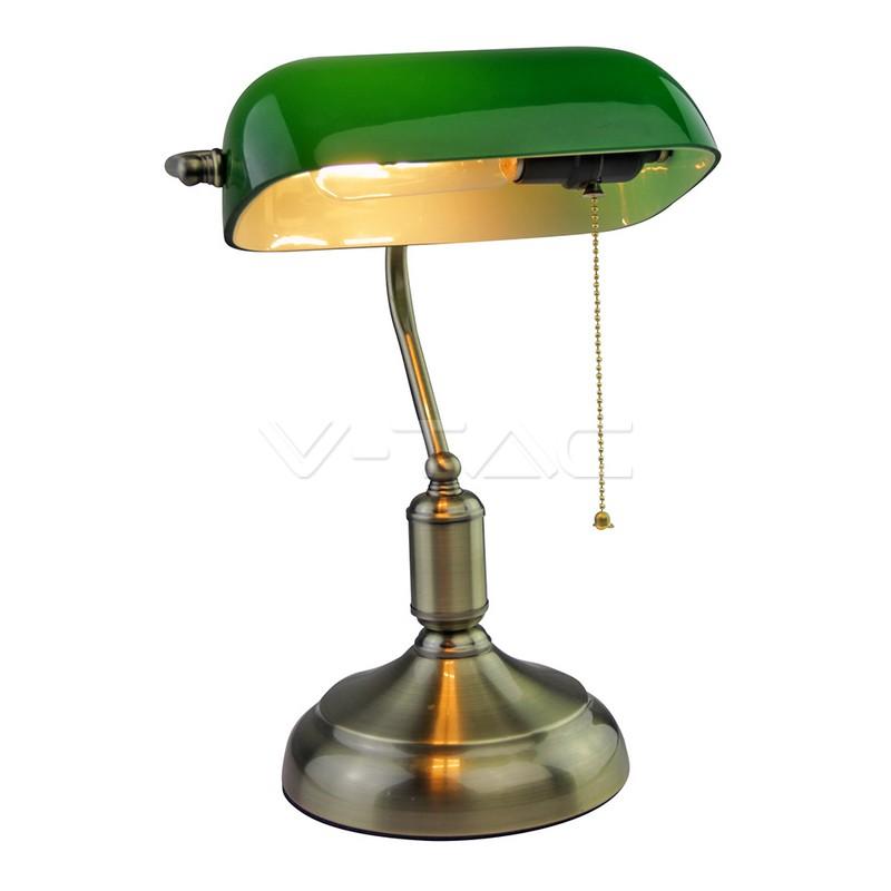 Lampada da tavolo per banchieri con interruttore E27 Verde