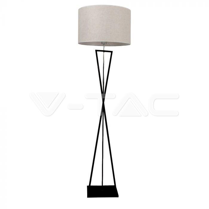 Lampada da terra di design E27 Interruttore in metallo nero con paralume in avorio