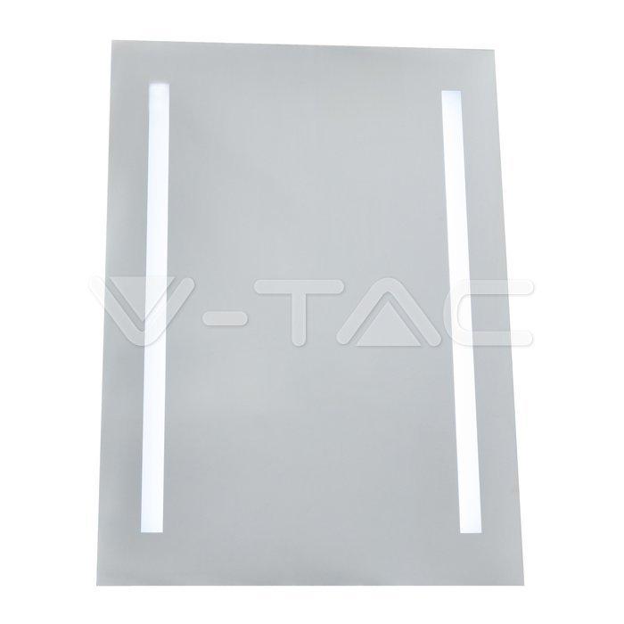 6W LED Specchio Rettangolo IP44 antinebbia 6400K + 24W Riscaldatore