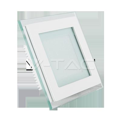 6W Pannello LED Mini Vetro quadrato Bianco freddo