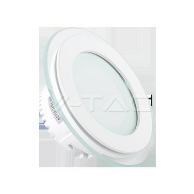 6W Pannello LED Mini Vetro rotondo Bianco freddo