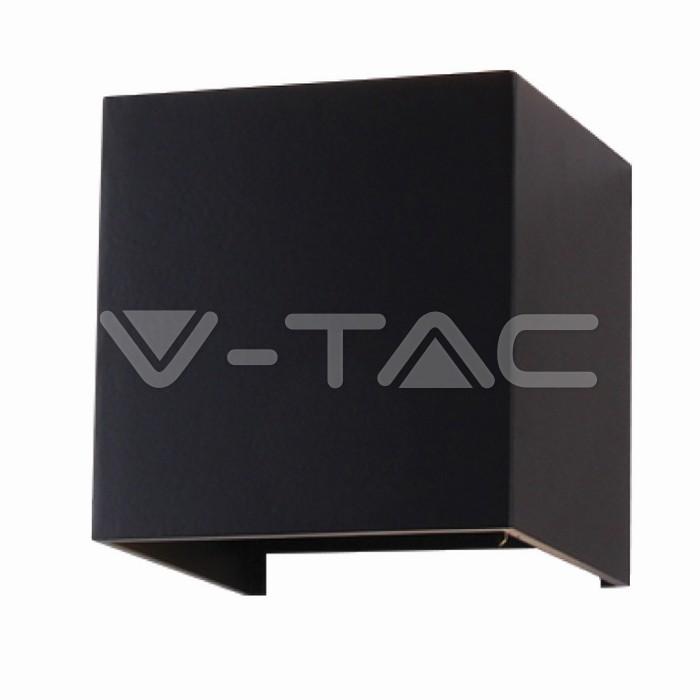 6W Lampada da parete LED Corpo Nero Quadrato IP65 Bianco caldo
