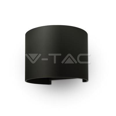 6W Lampada da parete LED Corpo Nero Rotondo IP65 Bianco caldo