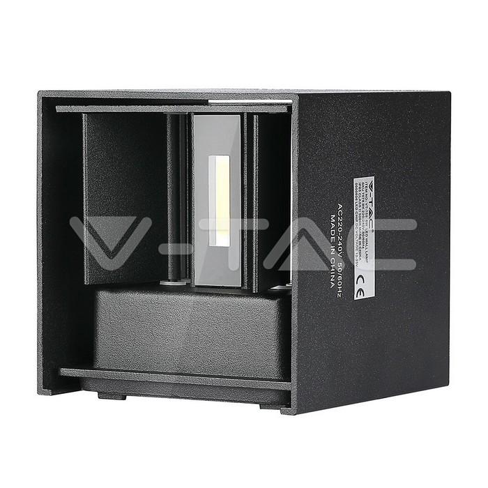 6W Lampada da parete LED Corpo Nero Quadrato IP65 Bianco naturale