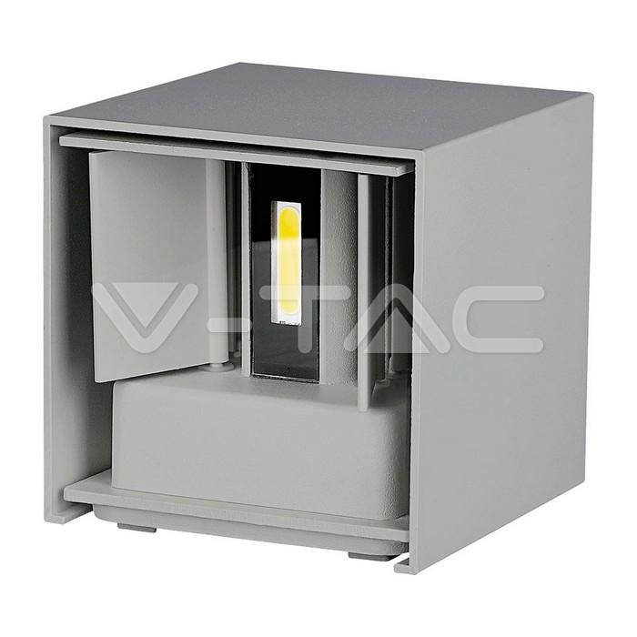 6W Lampada da parete Bridglux Chip Corpo Grigio Quadrato Bianco caldo