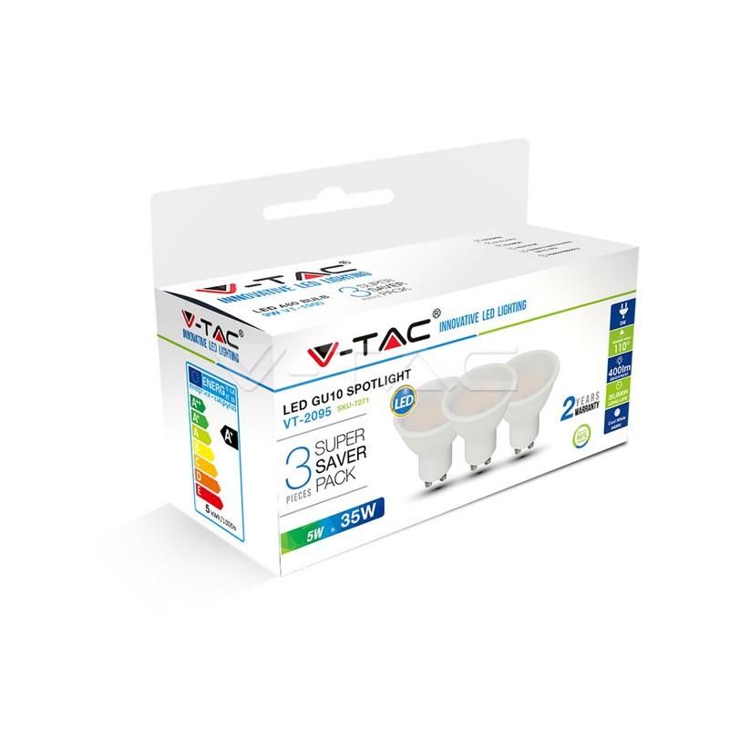 Lampadina faretto LED 5W GU10 SMD Plastica Bianca, Bianco 3Pz./Pacchetto