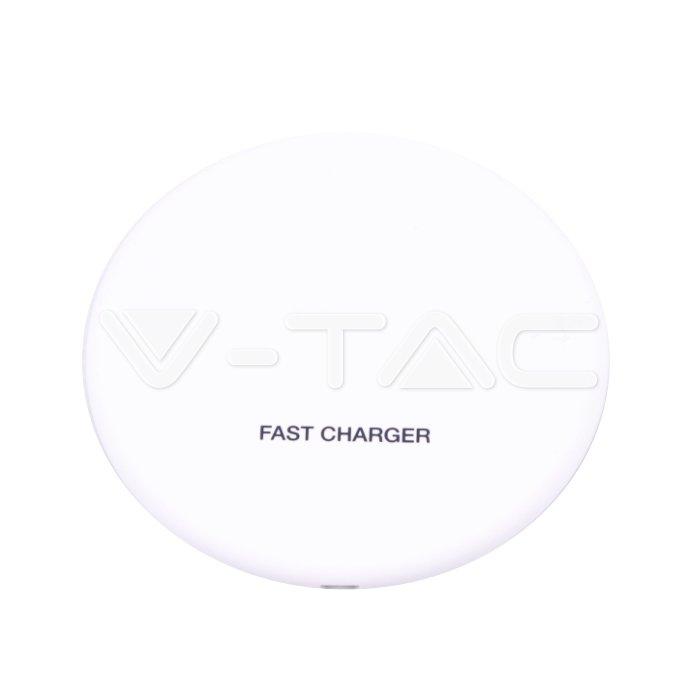 Wireless Caricabatterie 5A Ricarica rapida Rotonda Bianco