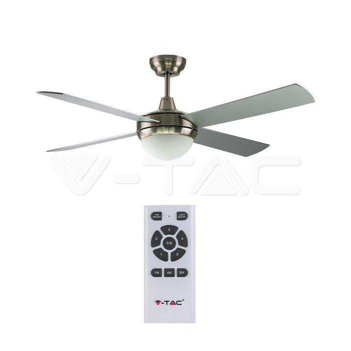 2 x E27 LED Kit luce ventilatore a soffitto RF Kontrol 4 pale motore 60W DC