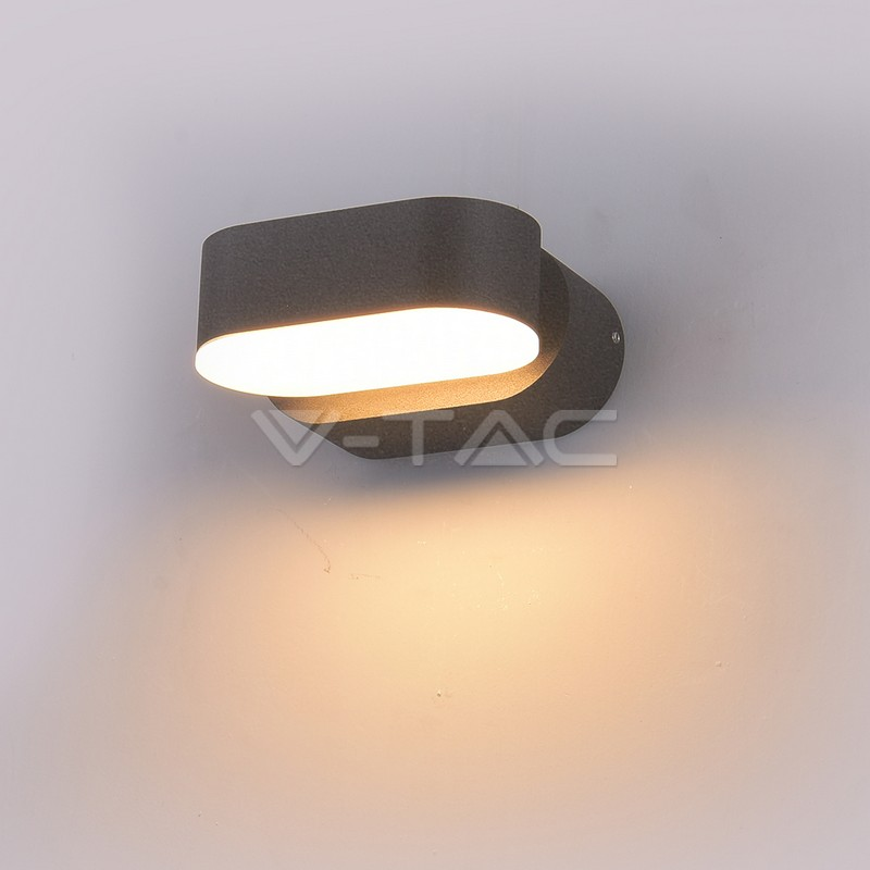 6W LED Wall Light Corpo Grigio IP65 Movibile 3000K