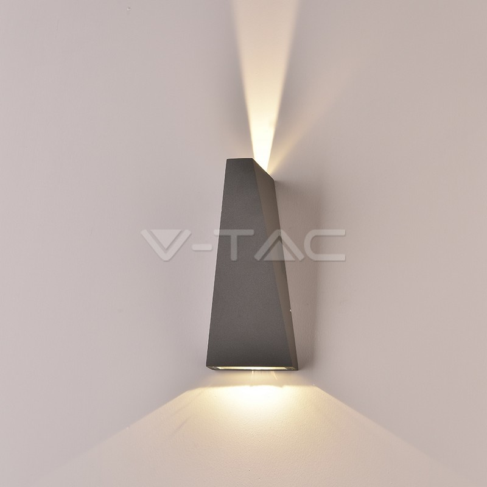 6W LED Wall Light Corpo Grigio IP65 3000K
