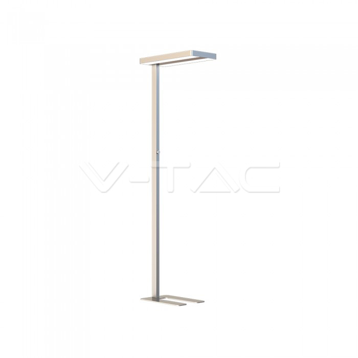 80W LED Floor Lamp Knob Dimmerabile Up/Down Argento con angolo Rotondo 4000K