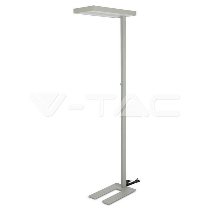 80W LED Floor Lamp Knob Dimmerabile Up/Down Argento con angolo a 90 gradi 4000K